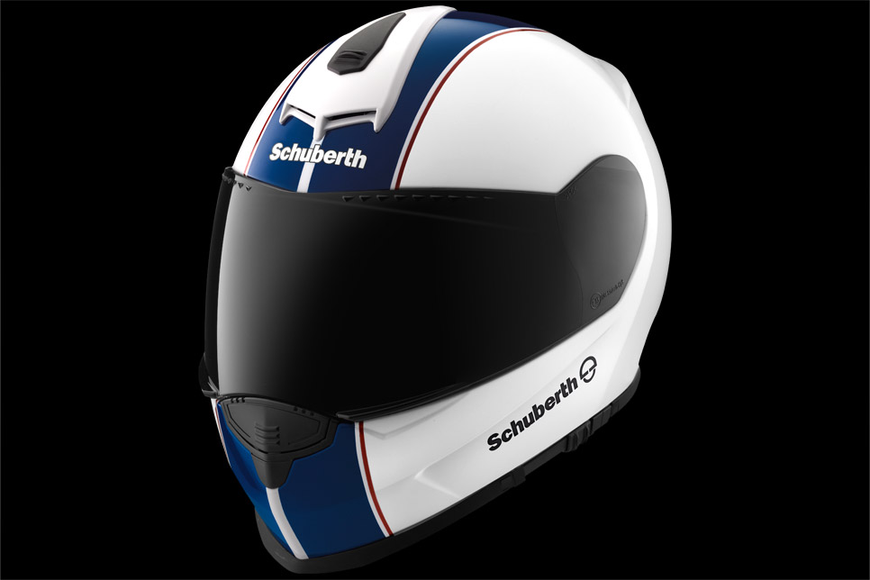 Schuberth S2 lines white blue red