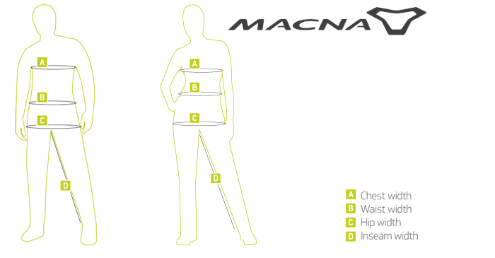 Macna Electric Heat Support: Macna størrelsesguide